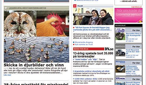 Skärmkopia av Kristianstadsbladet